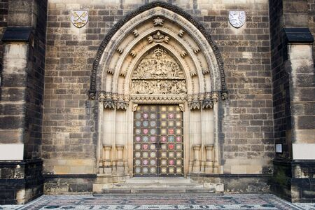 st peter: Main door to the neo-gothic Basilica of St Peter and St Paul in Prague, Czech Republic.