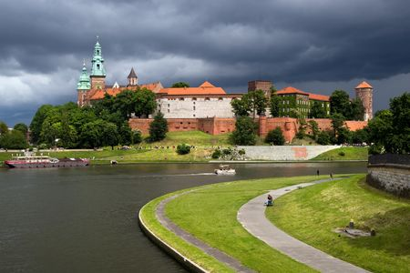 casimir: The Wawel Royal Castle in Cracow, Poland built in 14th at the behest of Casimir III the Great, rebuilt by Jogaila and Jadwiga of Poland. Vistula river on the first plan.