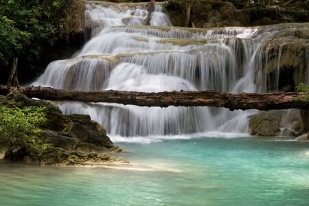 Waterfall in the tropical forest. Thailand, Kanchanaburi province.