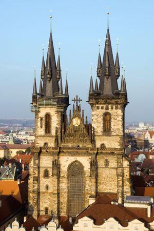 tyn: Church of Our Lady before Tyn in Prague, Czech Republic. Stock Photo