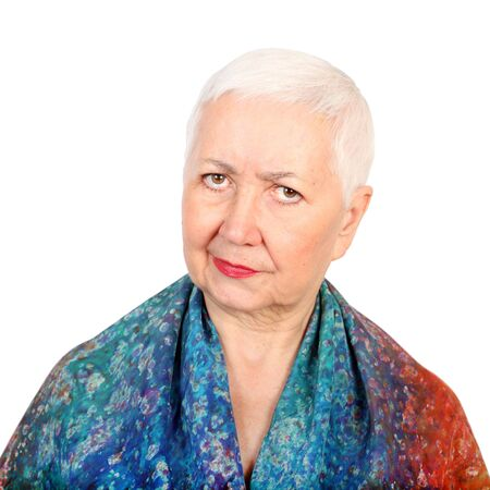 canny: Canny looking senior woman portrait, on white isolated background.