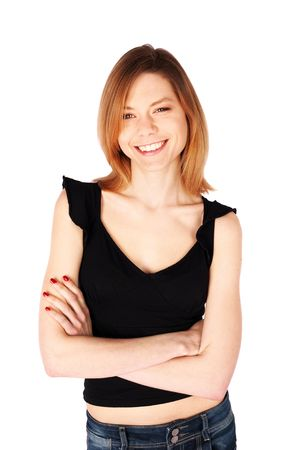 Young casual woman smiling isolated over a white background Stock Photo - 6735255