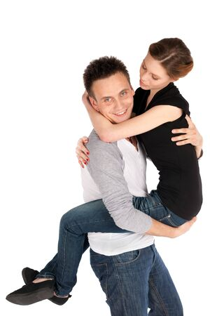 Young attractive happy couple having fun isolated on white background Stock Photo - 6875814