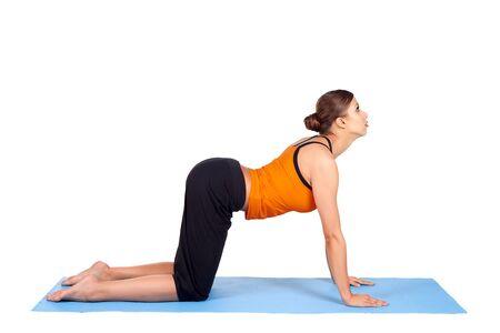 Fit woman doing yoga exercise called Cat Pose, sanskrit name: Viralasana, isolated over white background Stock Photo - 7159343