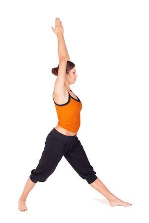 virabhadrasana: Woman practicing first stage of yoga exercise called Warrior Pose 1, sanskrit name: Virabhadrasana, isolated on white