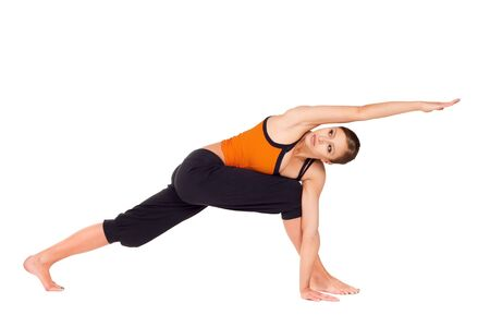 parsvakonasana: Woman doing yoga exercise called: Revolved Side Angle Pose, sanskrit name: Parivrtta Parsvakonasana, isolated on white background