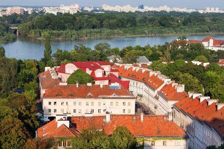 praga: Cityscape of Warsaw, Poland, Srodmiescie district on first plan, Praga district behind the vistula river