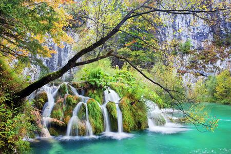 Waterfall in autumn scenery of the Plitvice Lakes National Park, Croatia Stock Photo