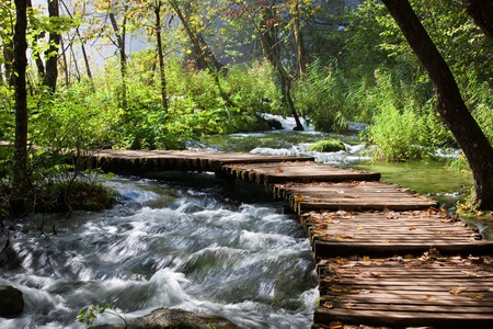 across: Wooden foot bridge across the stream in mountain forest, Croatia