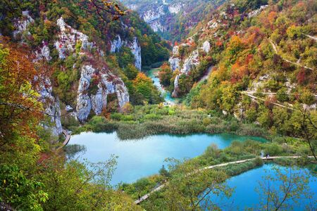 Scenic fall valley landscape in the mountains of Plitvice Lakes National Park, Croatia