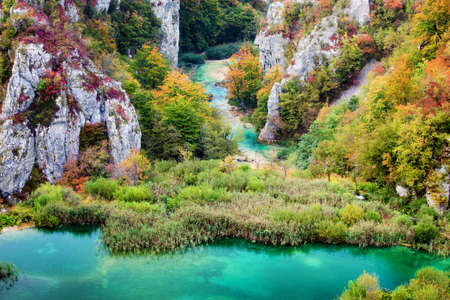 Scenic autumn valley landscape in the mountains of Plitvice Lakes National Park, Croatia Stock Photo - 8297077