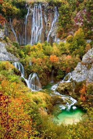 Waterfalls in a beautiful picturesque autumn scenery of the Plitvice Lakes National Park in Croatia Stock Photo