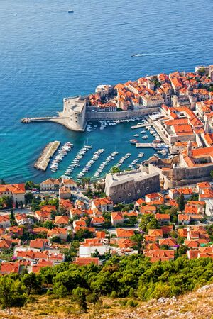 Dubrovnik Old Town on the Adriatic Sea in Croatia, aerial view Stock Photo