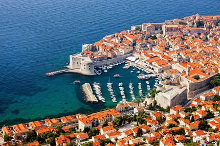 croatia: Dubrovnik Old Town on the Adriatic Sea in Croatia, aerial view Stock Photo