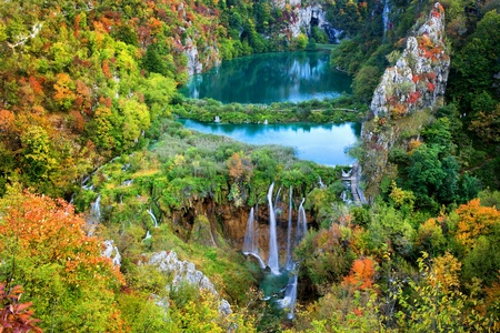 Scenic fall valley landscape in the mountains of Plitvice Lakes National Park, Croatia photo