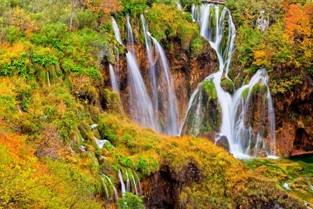 plitvice: Scenic autumn landscape with beautiful waterfalls in the Plitvice Lakes National Park in Croatia