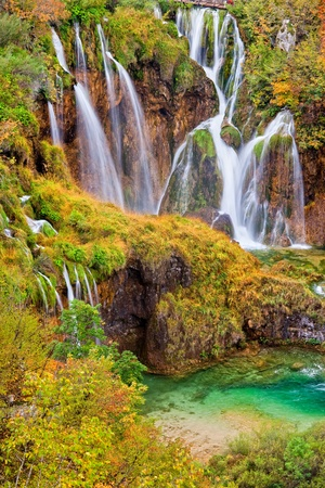 Autumn landscape with beautiful waterfalls in the Plitvice Lakes National Park in Croatia Stock Photo - 8582493