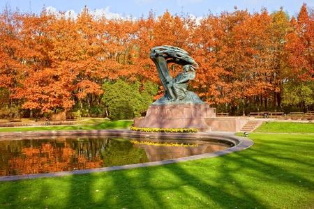 lazienki: Friderick Chopin monument in the Lazienki Park in Warsaw, Poland