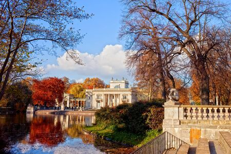 lazienki: Lazienki Park in autumn with Palace on the Water in Warsaw, Poland Stock Photo