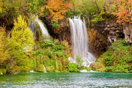 Scenic waterfalls in a picturesque autumn scenery of the Plitvice Lakes National Park in Croatia Stock Photo