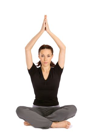 yoga pants: Pretty young woman practicing yoga sitting asana, isolated on white background