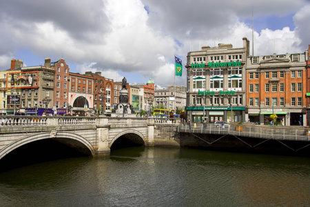 DUBLIN, IRELAND - MAY 26: Dublin city center, OConnel bridge and river Liffey on May 26, 2007 in Dublin, Ireland