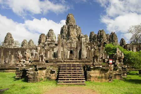 Famous Bayon temple inside Angkor Thom complex in Cambodia Stock Photo - 9000377