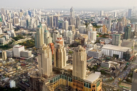 Bangkok Metropolis, aerial view over the biggest city in Thailand