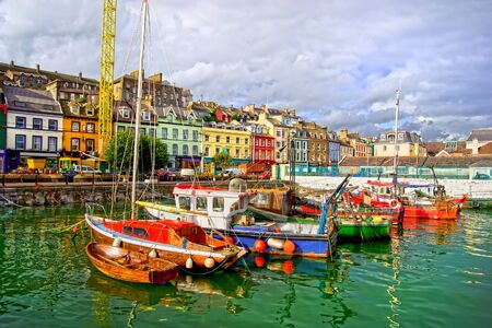 picturesque: Picturesque scenery of the Cobh town harbour in Ireland, Cork County, HDR technique