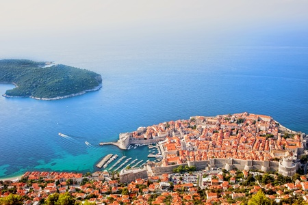 Dubrovnik Old Town and the Lokrum island on the Adriatic Sea in Croatia, aerial view 写真素材