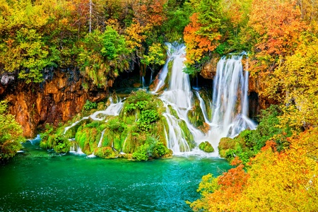 fall scenery: Tranquil waterfall scenery in the middle of autumn forest