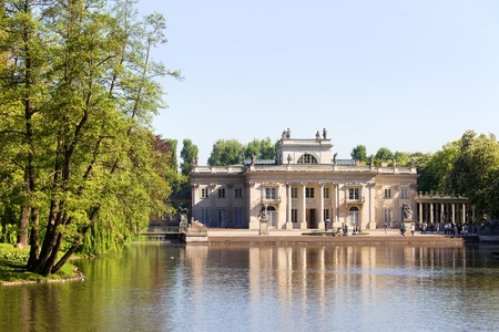 neoclassical: Palace on the Water, also called Lazienki Palace or Palace on the Isle in Lazienki Royal Park, Warsaw, Poland, composition with copyspace Editorial