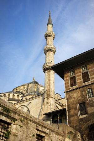 camii: Historic architecture of the Blue Mosque (Sultan Ahmet Camii) a famous landmark in Istanbul, Turkey, Sultanahmet district Editorial