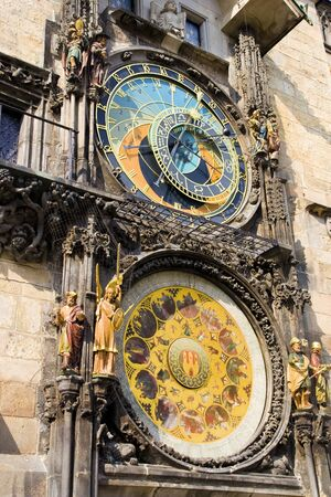 The Astronomical Clock, a medieval landmark mounted on the wall of Old Town City Hall in Prague, Czech Republic