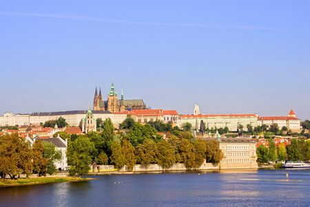 castle district: Hradcany in beautiful scenery of Castle District in Prague, Czech Republic