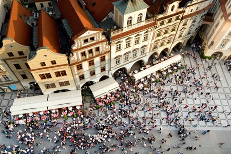 Old Town square with tourist crowd in Prague, Czech Republic, view from above Editöryel