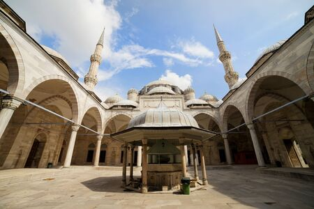 The Mosque of the Prince (Turkish: Sehzade Mehmet Camii) courtyard with ablution fountain in the middle, Istanbul, Turkey Stock Photo - 10023391