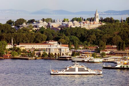 topkapi: The Topkapi Palace a residence of the Ottoman Sultans, view from the Golden Horn in Istanbul, Turkey Editorial