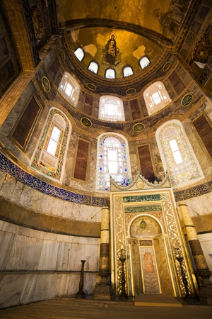 Mihrab in the Hagia Sophia (also called Hagia Sofia or Ayasofya), famous landmark in Istanbul, Turkey