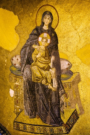justinian: Byzantine mosaic of Virgin Mary and Jesus Christ in the Hagia Sofia, Istanbul, Turkey
