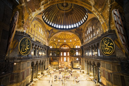 The Hagia Sophia (also called Hagia Sofia or Ayasofya) interior architecture, famous Byzantine landmark and world wonder in Istanbul, Turkey