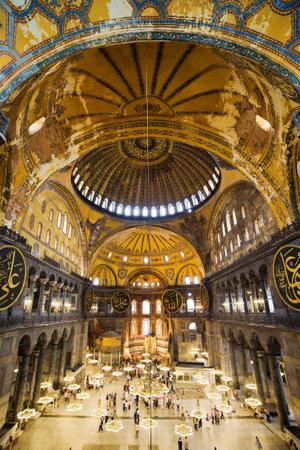 The Hagia Sophia (also called Hagia Sofia or Ayasofya) interior architecture, famous Byzantine landmark and world wonder in Istanbul, Turkey