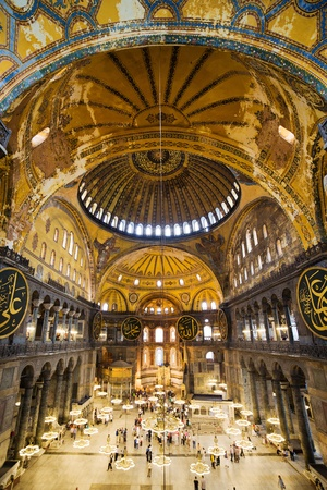 sofia: The Hagia Sophia (also called Hagia Sofia or Ayasofya) interior architecture, famous Byzantine landmark and world wonder in Istanbul, Turkey
