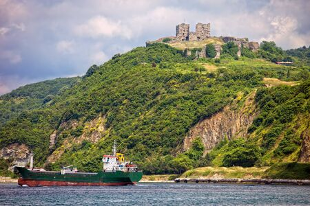 cargo vessel: Yoros castle on the Bosphorus Strait at the top of a scenic hill in Turkey