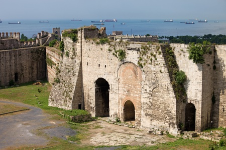 byzantine: Yedikule Castle (Castle of Sevens Towers) Byzantine architecture in Istanbul, Turkey and Marmara Sea on the horizon
