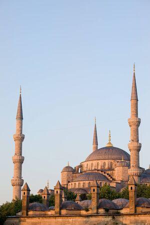 camii: Blue Mosque (Sultan Ahmet Camii) historic landmark in Istanbul, Turkey, Sultanahmet district, composition with copyspace