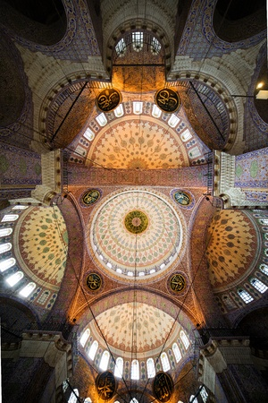 The New Mosque (Yeni Valide Camii, Ottoman Imperial Mosque), impressive interior ceiling architecture in Istanbul, Turkey