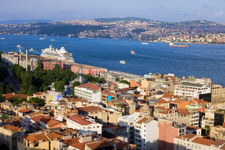 other side of: Istanbul cityscape in Turkey, on the first plan Beyoglu district (European Side), Bosphorus Strait and Asian Side on the other shore Stock Photo