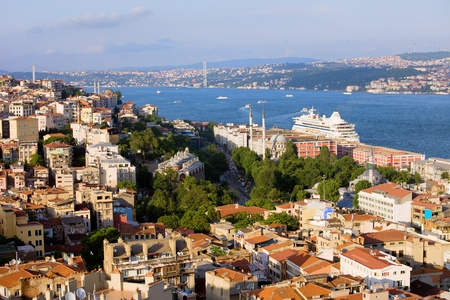 Istanbul cityscape in Turkey, on the first plan Beyoglu district (European Side), Bosporus Strait and Asian Side on the other shore Stock Photo