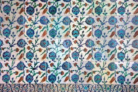 topkapi: Floral design on an old Ottoman style Iznik tiles in Istanbul, Turkey